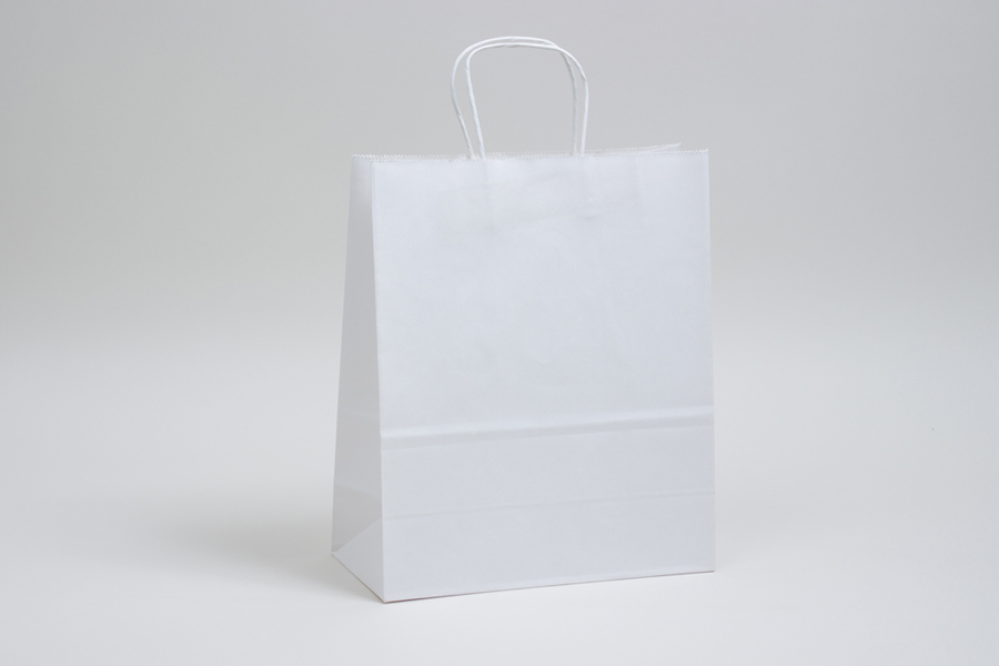 10 x 5 x 13 WHITE KRAFT PAPER SHOPPING BAGS