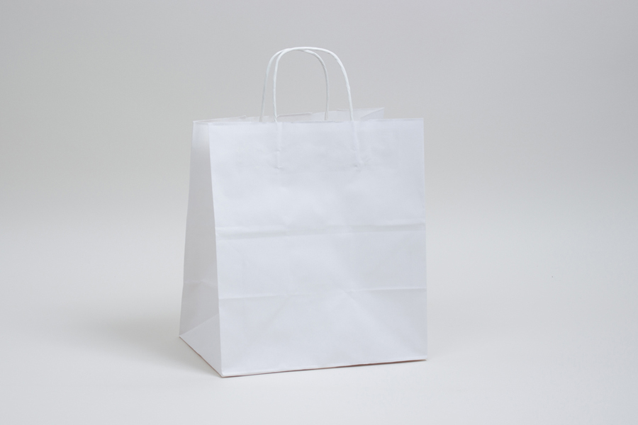10 x 6.75 x 12 WHITE KRAFT PAPER SHOPPING BAGS
