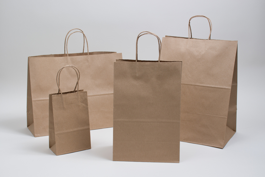 Economy Natural Kraft Paper Shopping Bags