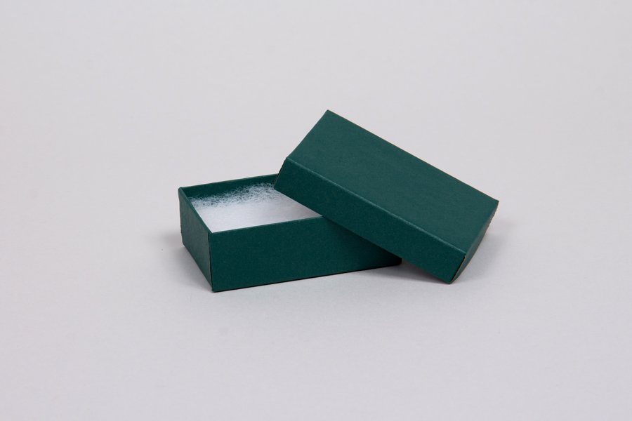 (#21) 2-1/2 x 1-1/2 x 7/8 MATTE DEEP GREEN JEWELRY BOXES