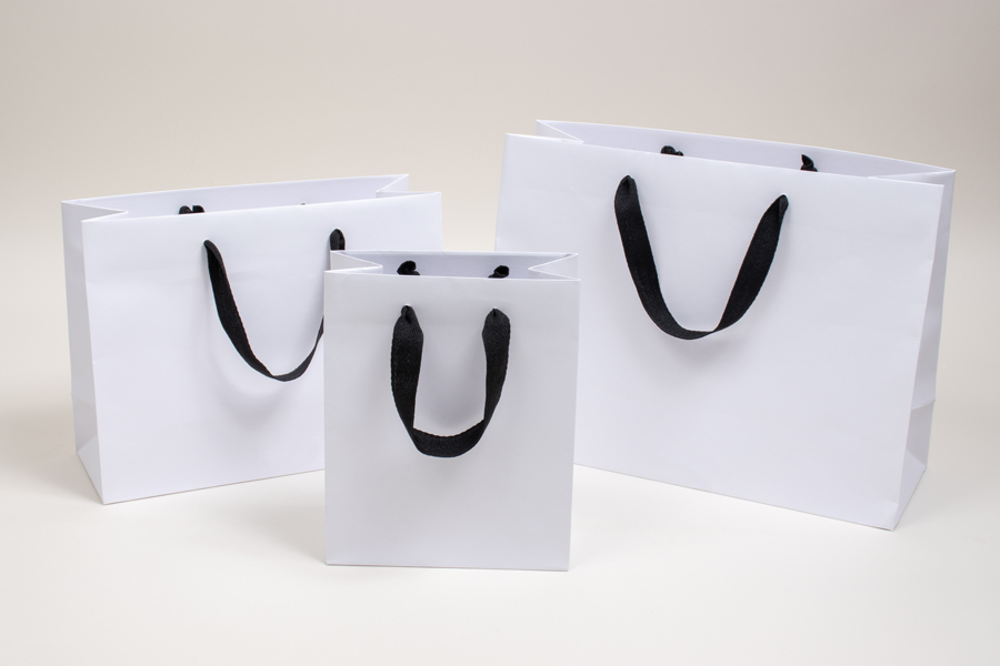 MC - Eurotote Shopping Bags - Matte White with Black Twill Handles