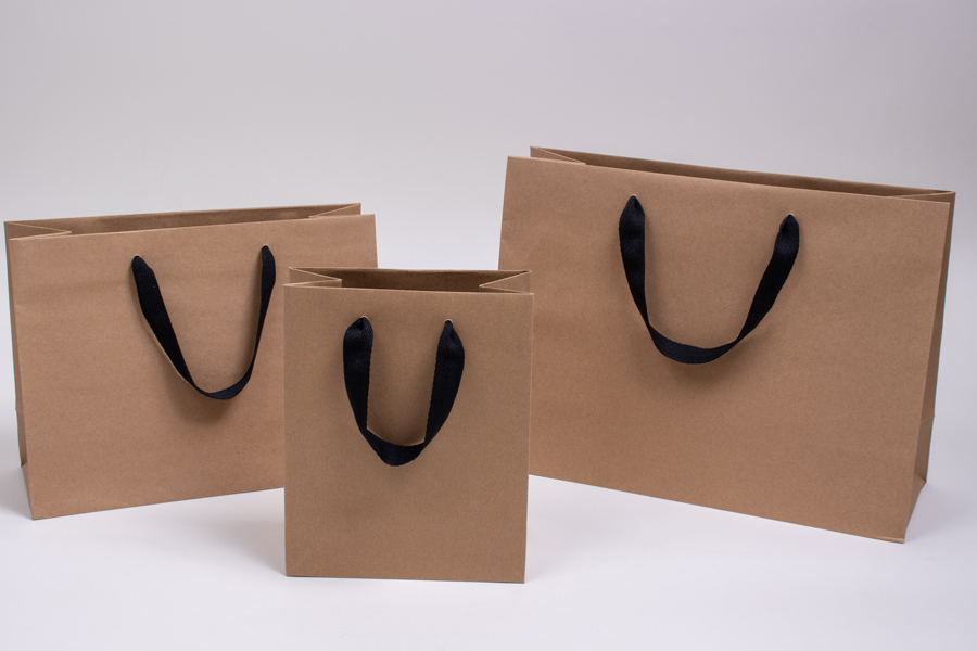 MC - Eurotote Shopping Bags - Natural Kraft with Black Twill Handles