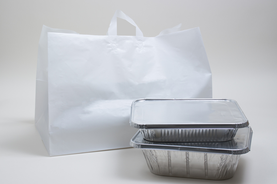 22 X 14 X 15 WHITE PLASTIC CATERING BAGS WITH SOFT LOOP HANDLES