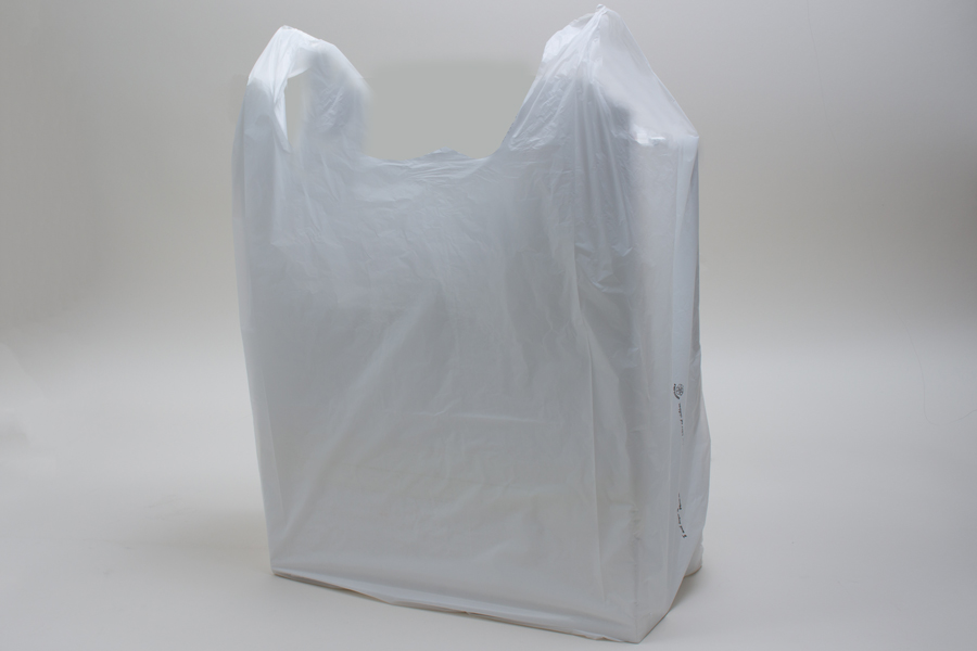 14 x 9 x 26 WHITE HIGH DENSITY PLASTIC T-SHIRT BAGS