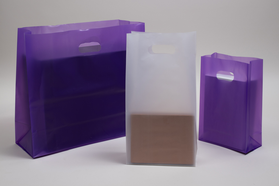 Frosted Square Bottom Plastic Shopping Bags