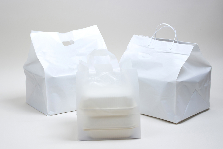 White Plastic Takeout & Catering Bags