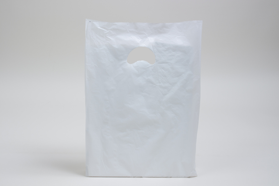 12 x 3 x 18 WHITE SATIN HIGH DENSITY PLASTIC BAGS