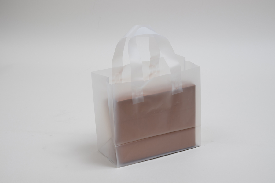 8 x 5 x 10 CLEAR FROSTED LOOP-HANDLE PLASTIC BAGS - 4 mil