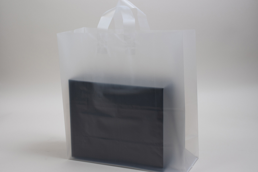 13 x 7 x 13 CLEAR FROSTED LOOP-HANDLE PLASTIC BAGS - 4 mil