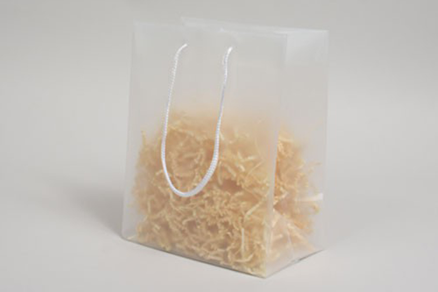 8 x 5 x 10 CLEAR FROSTED ROPE HANDLED EUROTOTE PLASTIC BAGS - 4 mil