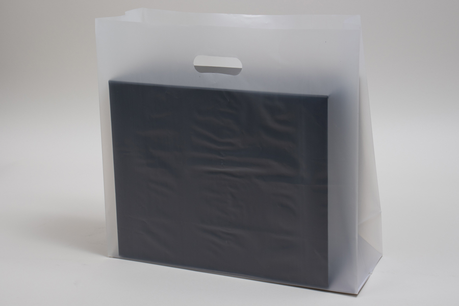 16 x 6 x 15 CLEAR FROSTED PLASTIC TOTE BAGS - 3.5 mil