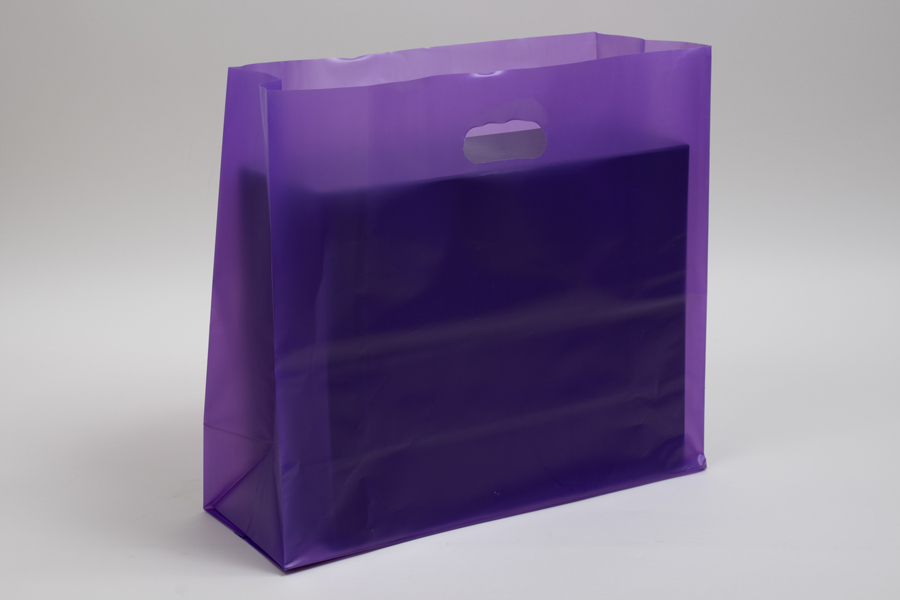 16 x 6 x 15 GRAPE FROSTED PLASTIC TOTE BAGS - 3.5 mil
