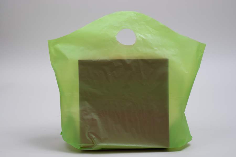 18 x 15 + 6 CITRUS GREEN FROSTED WAVETOP PLASTIC BAGS - 2.25 mil