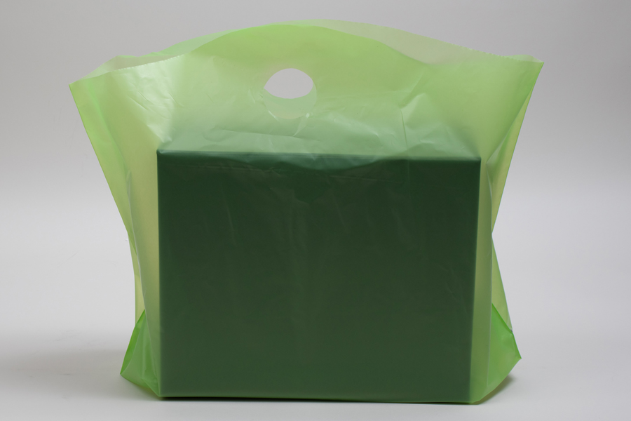 22 x 18 + 8 CITRUS GREEN FROSTED WAVETOP PLASTIC BAGS - 2.25 mil