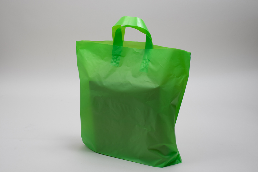 16 x 15 + 6 CITRUS FROSTED SOFT LOOP HANDLE AMERITOTE PLASTIC BAGS - 2.25 mil
