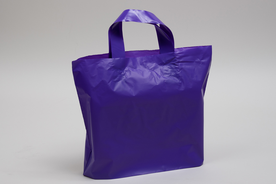 12 x 10 + 4 GRAPE FROSTED SOFT LOOP HANDLE AMERITOTE PLASTIC BAGS - 2.25 mil