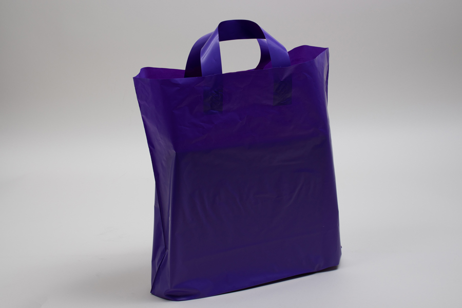 16 x 15 + 6 GRAPE FROSTED SOFT LOOP HANDLE AMERITOTE PLASTIC BAGS - 2.25 mil