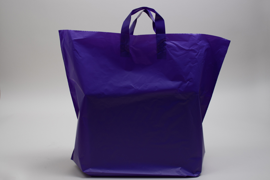 22 x 18 + 8 GRAPE FROSTED SOFT LOOP HANDLE AMERITOTE PLASTIC BAGS - 2.25 mil