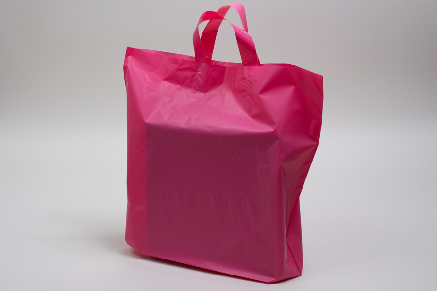 16 x 15 + 6 HOT PINK FROSTED SOFT LOOP HANDLE AMERITOTE PLASTIC BAGS - 2.25 mil