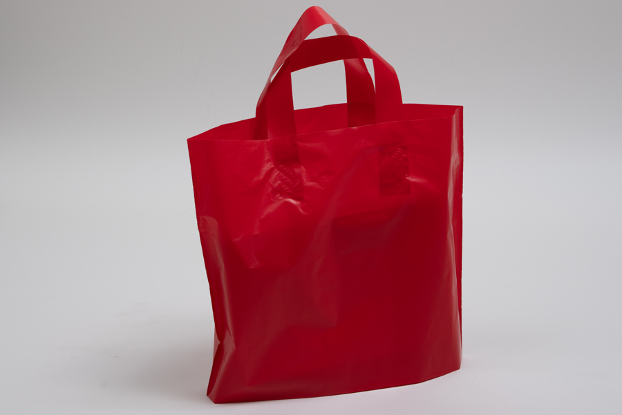 12 x 10 + 4 RED FROSTED SOFT LOOP HANDLE AMERITOTE PLASTIC BAGS - 2.25 mil