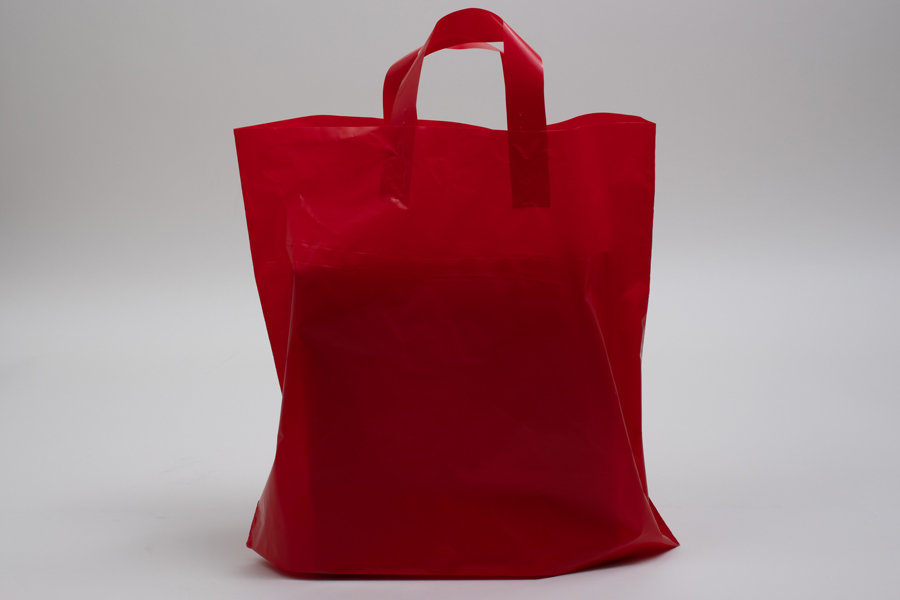 16 x 15 + 6 RED FROSTED SOFT LOOP HANDLE AMERITOTE PLASTIC BAGS - 2.25 mil