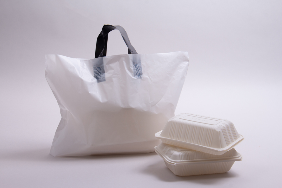 16 x 11 x 8 WHITE SOFT LOOP HANDLE AMERITOTE PLASTIC CARRYOUT BAGS