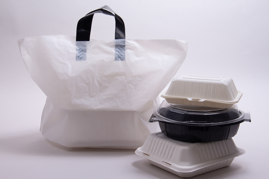 19 x 12 x 9 WHITE SOFT LOOP HANDLE AMERITOTE PLASTIC CARRYOUT BAGS