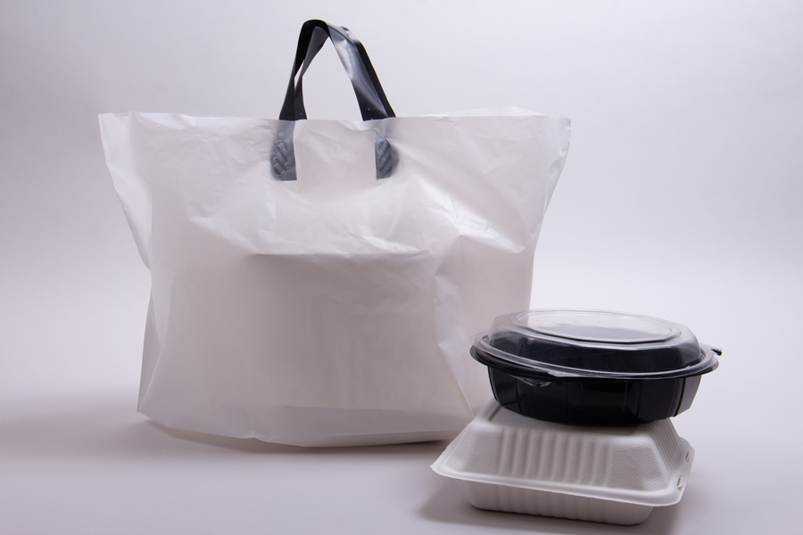 21 x 13 x 10 WHITE SOFT LOOP HANDLE AMERITOTE PLASTIC CARRYOUT BAGS