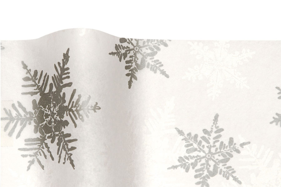 20 x 30 PEARL AND SILVER SNOWFLAKE TISSUE PAPER