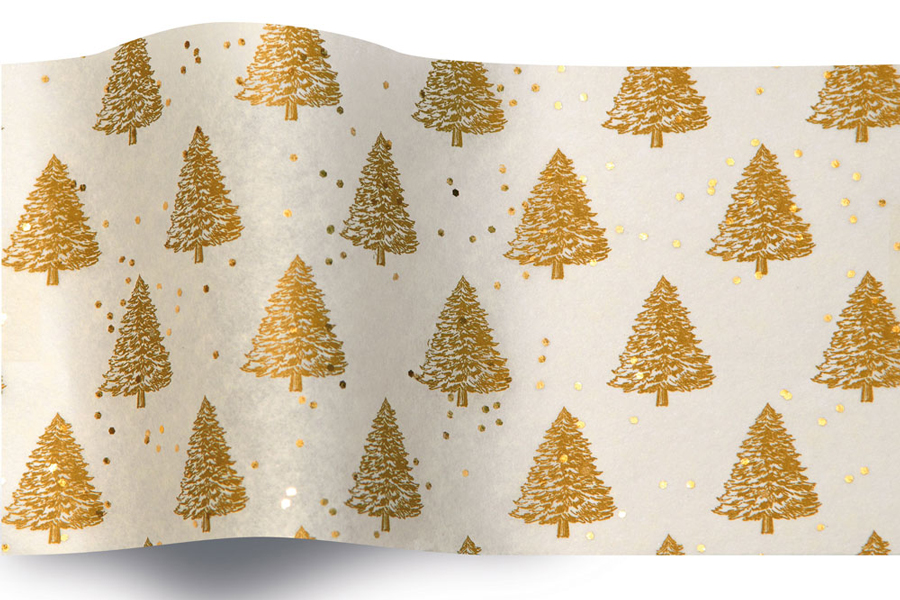 20 x 30 GOLD PEARL TREES GEMSTONE TISSUE PAPER