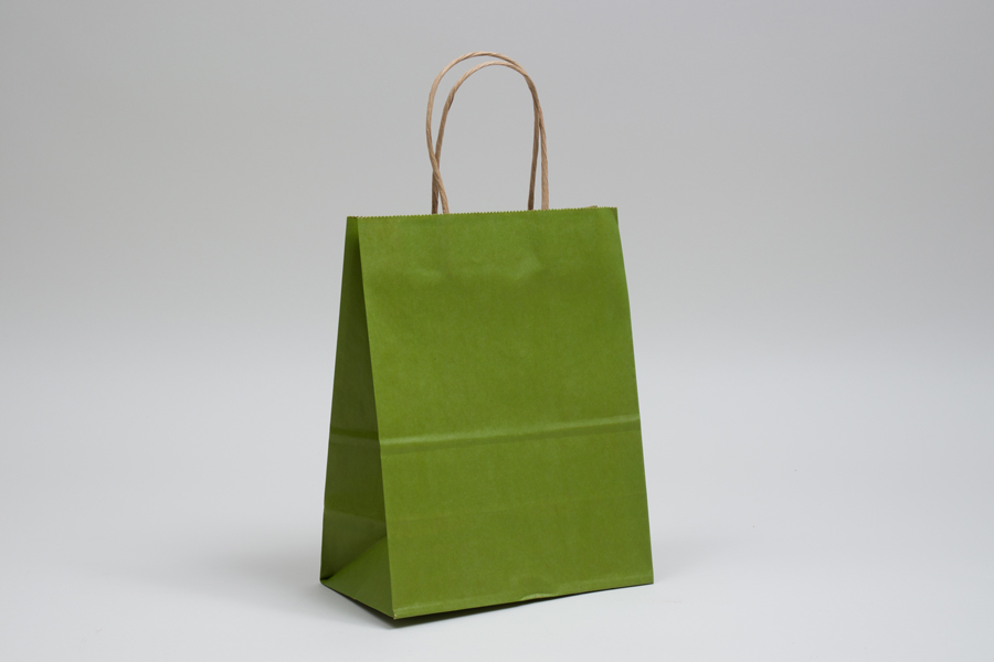 8 x 4.5 x 10.25 MATTE GREEN TEA COLOR TINTED KRAFT PAPER SHOPPING BAGS