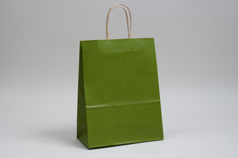 10 x 5 x 13 MATTE GREEN TEA COLOR TINTED KRAFT PAPER SHOPPING BAGS
