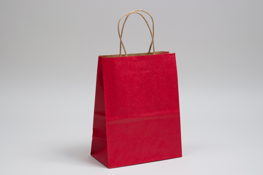 8 x 4.5 x 10.25 MATTE SCARLET RED COLOR TINTED KRAFT PAPER SHOPPING BAGS