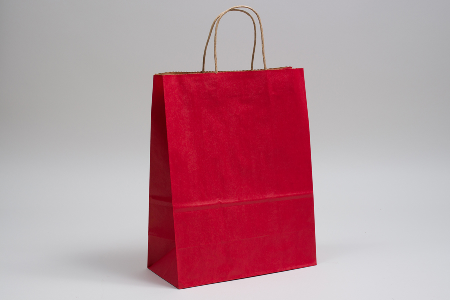 10 x 5 x 13 MATTE SCARLET RED COLOR TINTED KRAFT PAPER SHOPPING BAGS