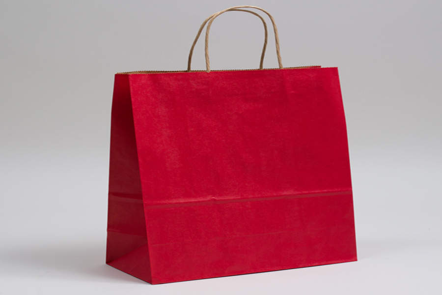 16 x 6 x 12 MATTE SCARLET RED COLOR TINTED KRAFT PAPER SHOPPING BAGS
