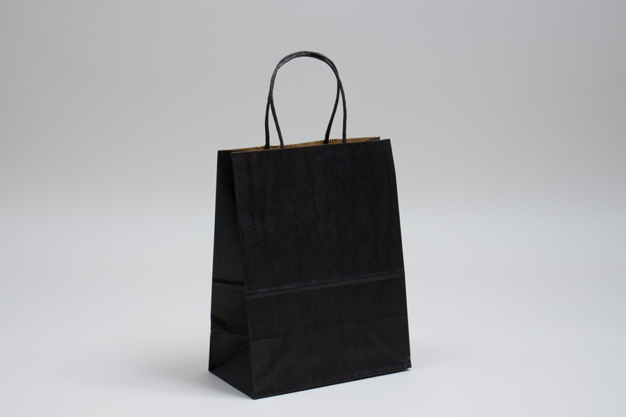 8 x 4.5 x 10.25 MATTE BLACK COLOR TINTED KRAFT PAPER SHOPPING BAGS