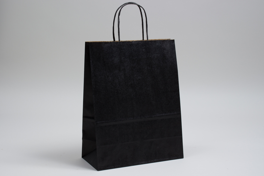 10 x 5 x 13 MATTE BLACK COLOR TINTED KRAFT PAPER SHOPPING BAGS