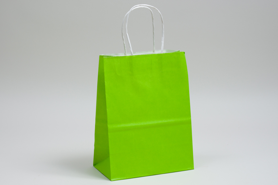 10 x 5 x 13 CITRUS GREEN COLOR TINTED PAPER SHOPPING BAGS