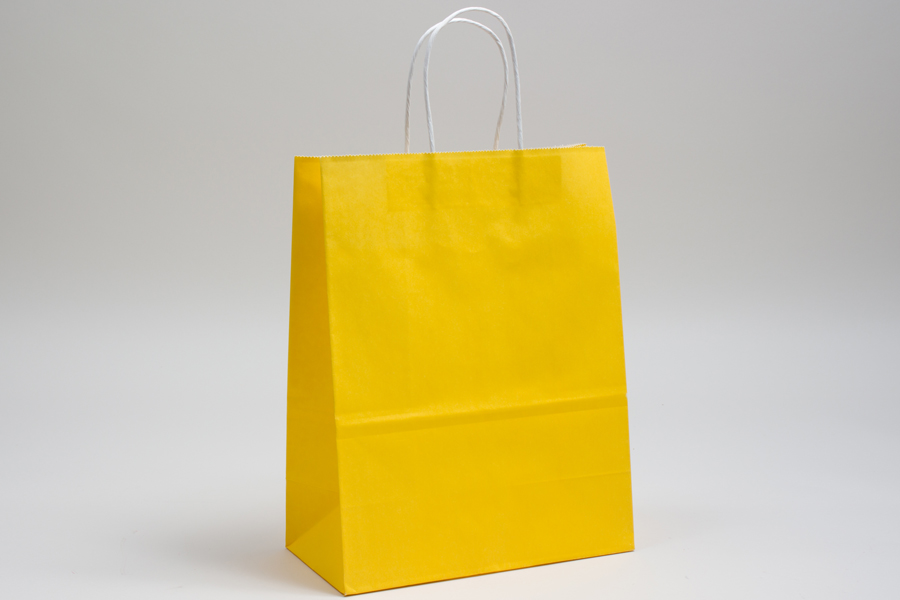 8 x 4.5 x 10.25 BUTTERCUP YELLOW COLOR TINTED PAPER SHOPPING BAGS