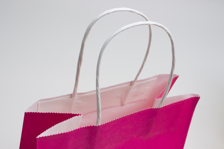 16 x 6 x 12 CERISE PINK COLOR TINTED PAPER SHOPPING BAGS