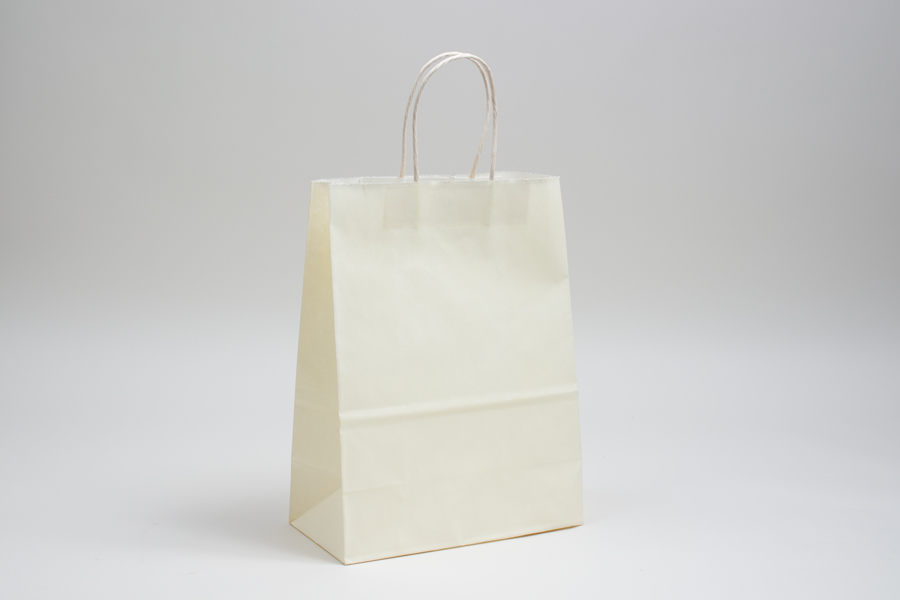 8 x 4.5 x 10.25 FRENCH VANILLA COLOR TINTED PAPER SHOPPING BAGS