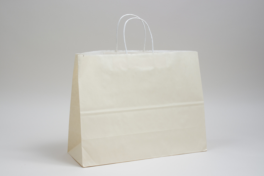 16 x 6 x 12 FRENCH VANILLA COLOR TINTED PAPER SHOPPING BAGS