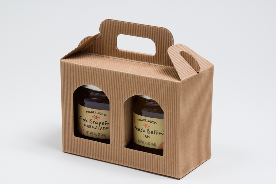 "6.625 X 3.125 X 4.687"" NATURAL KRAFT WINDOW JAR CARRIER BOXES - 2 JAR"