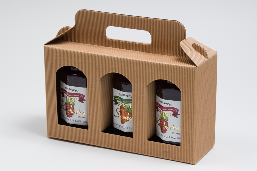 "9.812 X 3.125 X 5.875"" NATURAL KRAFT WINDOW JAR CARRIER BOXES - 3 JAR"