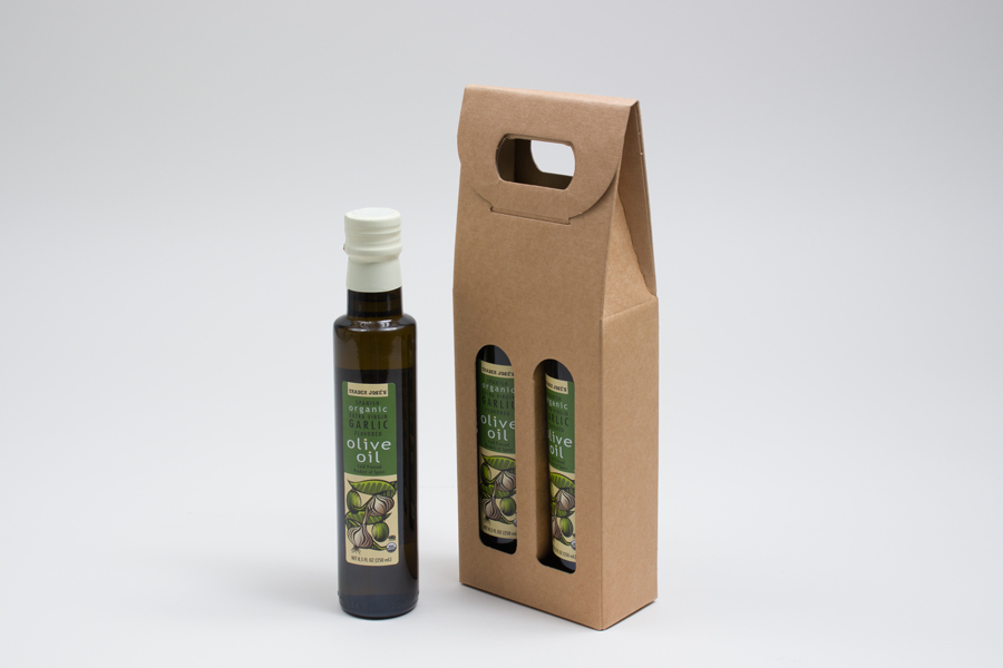 "4.25 X 2.125 X 12"" - 200ml NATURAL KRAFT OLIVE OIL BOTTLE CARRIERS WITH WINDOWS"