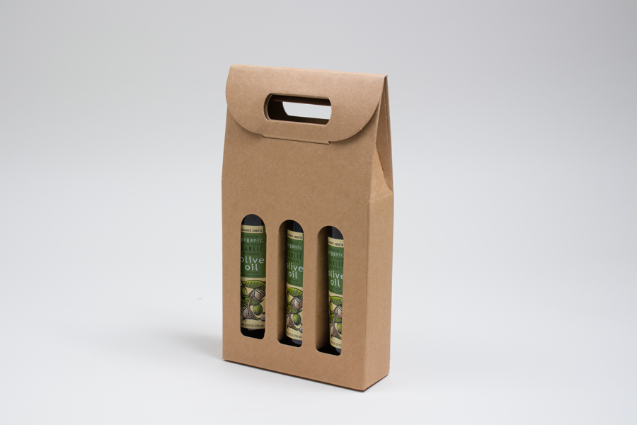 "6.625 X 2.125 X 12"" - 200ml NATURAL KRAFT OLIVE OIL BOTTLE CARRIERS WITH WINDOWS"
