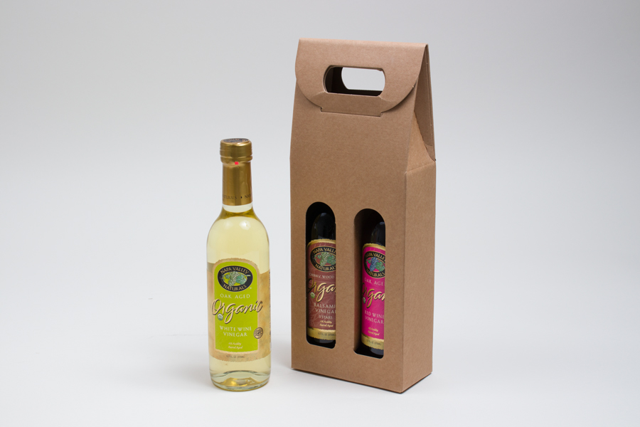 "5.125 X 2.5 X 13.25"" - 375ml NATURAL KRAFT OLIVE OIL BOTTLE CARRIERS WITH WINDOWS"