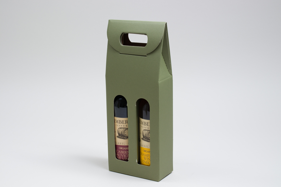 "4.25 X 2.125 X 12"" SAGE GREEN OLIVE OIL BOTTLE CARRIERS WITH WINDOWS - 200ML"