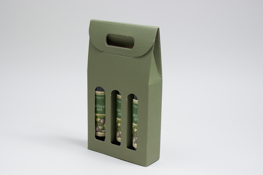 "6.625 X 2.125 X 12"" SAGE GREEN OLIVE OIL BOTTLE CARRIERS WITH WINDOWS - 200ML"