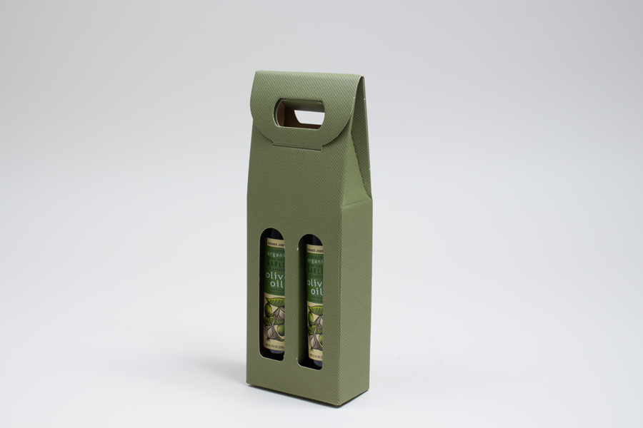 "5.125 X 2.5 X 13.25"" - 6.625 X 2.125 X 12"" SAGE GREEN OLIVE OIL BOTTLE CARRIERS WITH WINDOWS - 375ML"